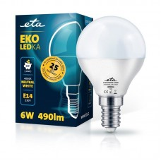 ETA LED žarnica P45, E14 navoj 6 W (nevtralno bela, 4000K, 490 lm)